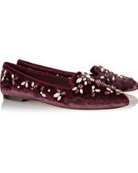 Dolce & Gabbana Audrey Crystalembellished Velvet Slippers - Lyst