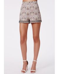 Missguided Olivvia Paisley Print Stud Detail Shorts - Lyst