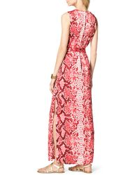 Michael by Michael Kors Snakeprint Maxi Dress - Lyst