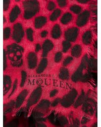Alexander McQueen Leopard and Skull Print Scarf - Lyst
