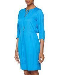 Diane Von Furstenberg Three Quarter Caftan Silk Dress - Lyst