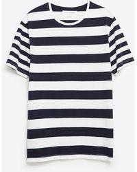 Zara   Striped T-shirt   Lyst