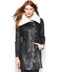 Vince Camuto Faux Shearling Collar Belted Walker Coat - Lyst