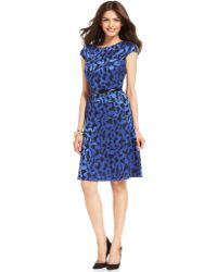 Anne Klein Petite Cap Sleeve Floral Belted Dress - Lyst