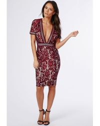 Missguided Jess Mixed Lace Deep V Midi Dress Burgundy - Lyst