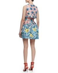 Mary Katrantzou Silver Floss Bejeweled Bow Cropped Top Orangeaqua - Lyst
