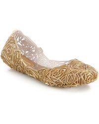 Melissa Campanafita Cutout Rose-Patterned Metallic Plastic Flats - Lyst