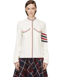 Thom Browne White Silk Band Collar Button_up Blouse - Lyst