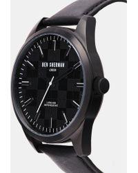 Ben Sherman Black Leather Strap Watch Wb007B - Lyst