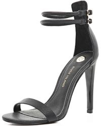 River Island Black Double Strap Barely There Sandals - Lyst