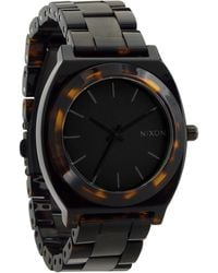 Nixon Time Teller Acetate Black Matt and Dark Tortoise Watch - Lyst