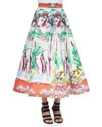 Alice + Olivia Merritt Printed Tea-Length Skirt - Lyst