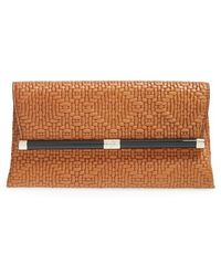 Diane von Furstenberg '440 - Weave' Embossed Leather Envelope Clutch - Lyst