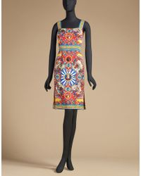 Dolce & Gabbana | Printed Silk Dress With Shoulder Straps | Lyst