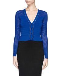 Diane Von Furstenberg Lace Sleeve Rib Cardigan - Lyst