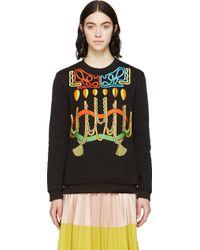 Peter Pilotto Black Robe Embroideries Sweatshirt - Lyst