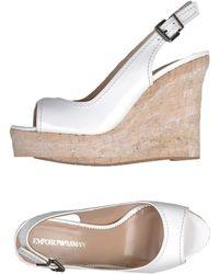 Emporio Armani White Sandals - Lyst