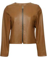 Bouchra Jarrar - Collarless Leather Jacket - Lyst