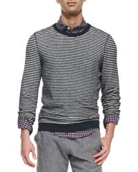 Band Of Outsiders Stripe Crewneck Sweater - Lyst