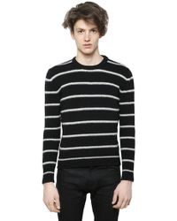 Saint Laurent Striped Wool Cashmere Blend Sweater - Lyst
