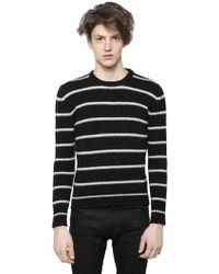 Saint Laurent Striped Wool & Cashmere Blend Sweater - Lyst