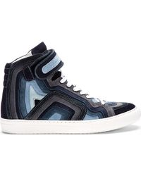 Pierre Hardy Blue Layered Suede High_top Sneakers - Lyst