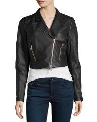 Jason Wu Cropped Leather Moto Jacket - Lyst