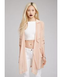 Forever 21 Draped Open-Front Cardigan - Lyst