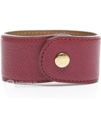 Hermes Preowned Courchevel Stud Cuff Bracelet - Lyst