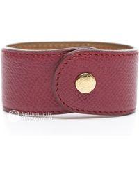 Hermès Preowned Courchevel Stud Cuff Bracelet - Lyst
