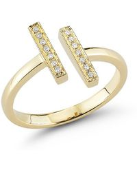 Dana Rebecca Sylvie Rose Double Bar Ring In Gold - Lyst