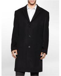 Calvin Klein Wool Blend Plaza Overcoat - Lyst