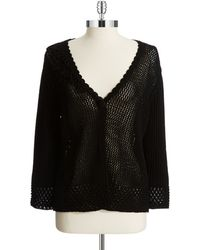 Jones New York Black Crochet Cardigan - Lyst
