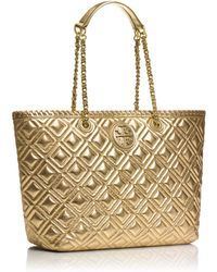Tory Burch Marion Quilted Metallic Small Tote - Lyst