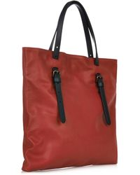 Tomas Maier Red Contrast Leather Buckle Tote - Lyst