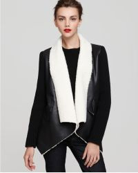 Sam Edelman - Sherpa Wrap Coat With Knit Sleeves - Lyst