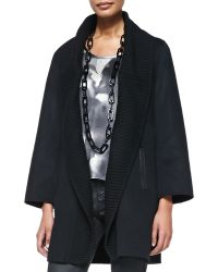 Eileen Fisher Brushed Wool-Blend Coat W/ Ribbed Shawl Collar - Lyst