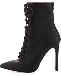 Jeffrey Campbell Elphaba Grainy Leather Laceup Bootie - Lyst