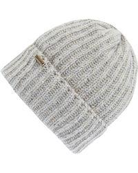 Barbour - Mid Grey Tyne Turnback Beanie Hat - Lyst