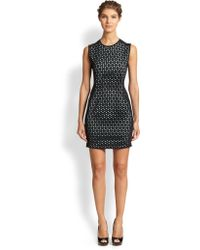 Shoshanna Laser-cut Scuba Dress - Lyst