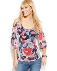 Inc International Concepts Cold-shoulder Printed Peasant Top - Lyst