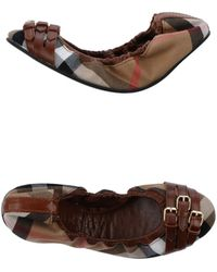 Burberry Brown Ballet Flats - Lyst