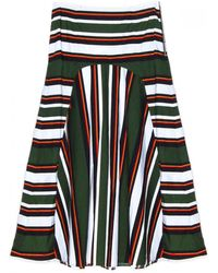 Suno Rasta Stripe Skirt green - Lyst