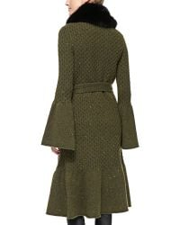 Carolina Herrera Long Coat with Fox Fur Collar - Lyst