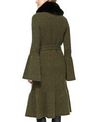 Carolina Herrera Long Coat with Fox Fur Collar - Lyst