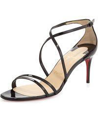 Christian Louboutin Gwinee Patent Crisscross Red Sole Sandal - Lyst