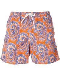 Kiton Paisley-Print Swim Shorts - Lyst