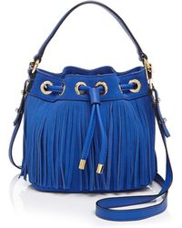 MILLY - Small Essex Suede Fringe Bucket Crossbody - Lyst