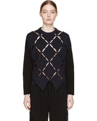 Proenza Schouler Black And Navy Open Argyle Sweater - Lyst