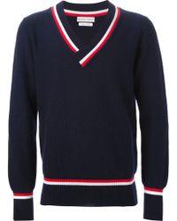 Michael Bastian Stripe Details V-Neck Sweater - Lyst